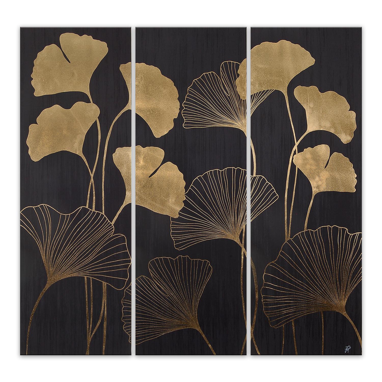 Ventagli Da Parete Decorativi as469tx1 - trittico foglie a ventaglio legno e foglia oro