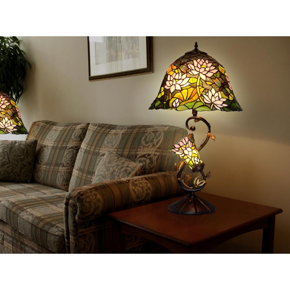 GF16313 - Lampada da tavolo floreale doppio paralume