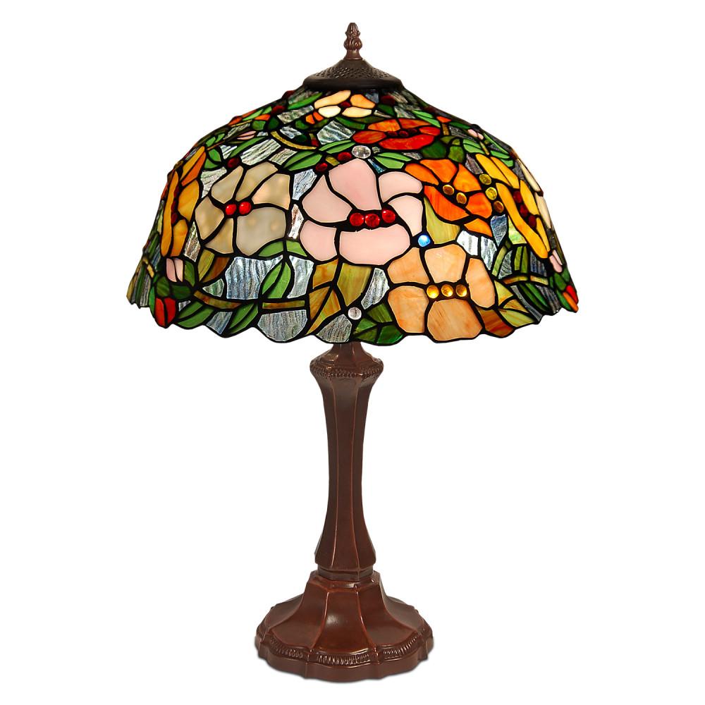 GF16715 - Lampada da tavolo floreale rosa, arancione e verde