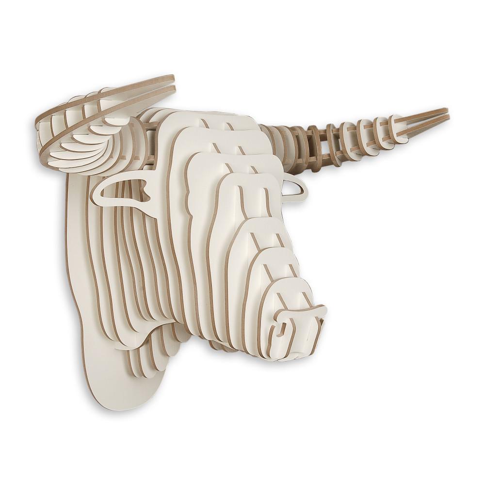 WD014MW - Puzzle in legno Toro bianco