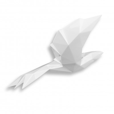 D3607PW - Uccello origami bianco