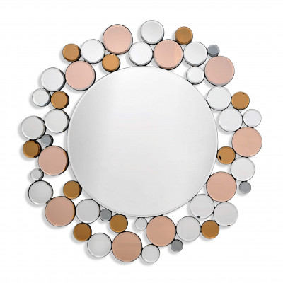 HM010A8080 - Modern Round Mirror with Frame Made of Circles