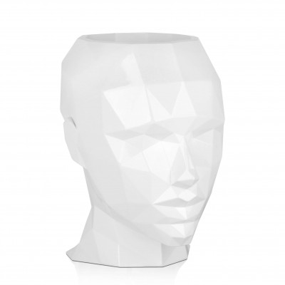 VPE3632PW - Low poly woman's head vase