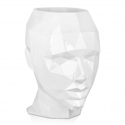 VPE5550PW - Low poly woman's head vase large