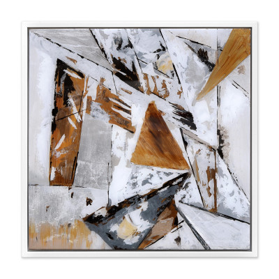 WA007WA - Abstract Painting on Plexiglass with White, Grey and Brown Geometries