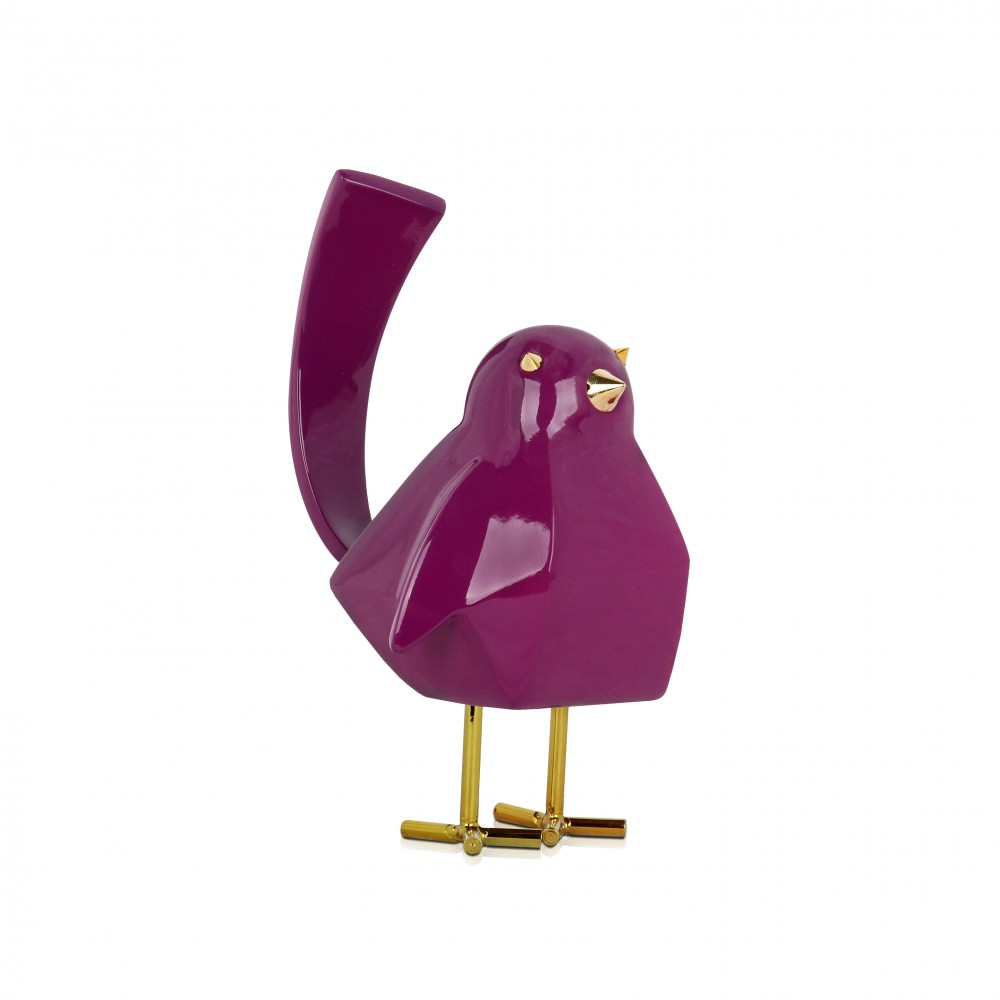 D1811PV - Purple Bird-shaped Sculpture in Resin