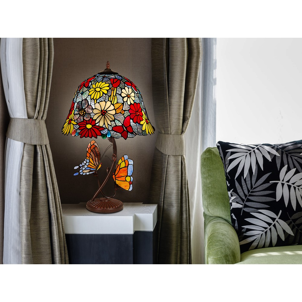 GF16826 - Table lamp with flowers and butterflies