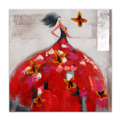 AS363X1 - Painting of a Woman in a Red Dress with Butterflies