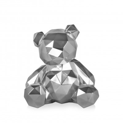 D3028RS - Silver multi-faceted teddy bear with mirror effect